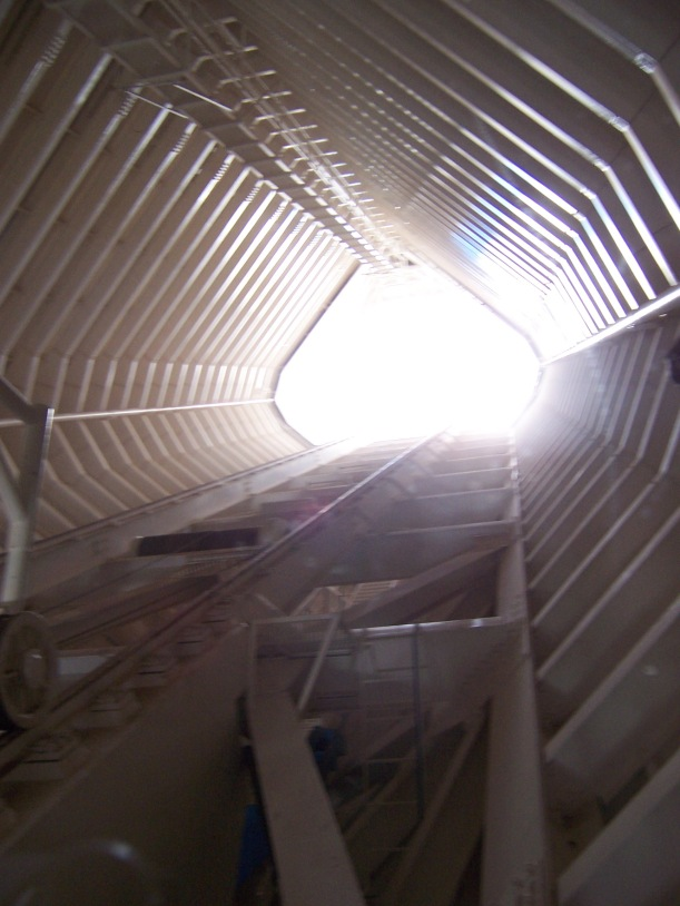 Inside the solar observatory. It's bright up there, I think I see why they put that hole in the top.