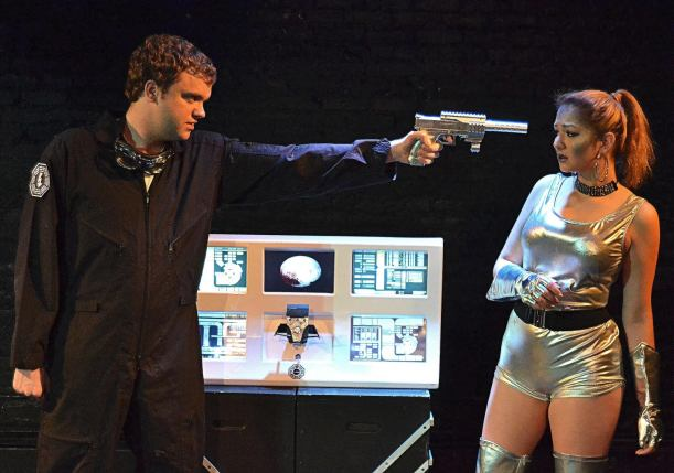 Providence actors Derek Smith and Victoria Ezikovich explore space hallucinations in The Final Voyage of X Minus One. Photo by Bert Silverberg.